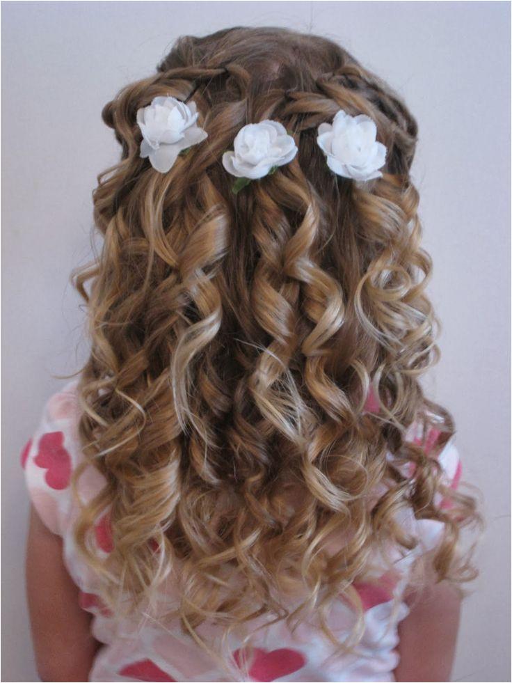 Little Girl Hairstyles for Flower Girl Wedding Ideas Flower Girl with Blue Flowers In Her Half Up