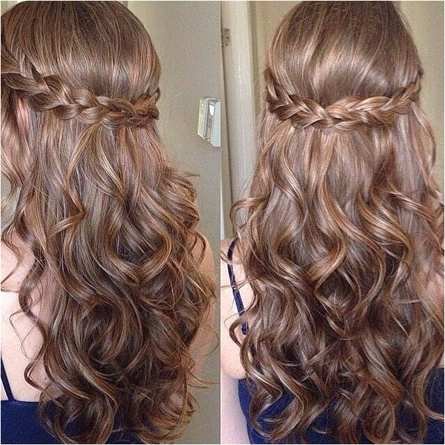 Prom Hairstyles Side Curls with Braid Sweet Sixteen Prom Hair Frisuren Pinterest