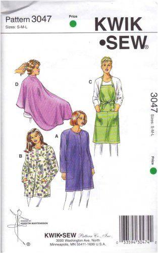 "Diy Haircut Cape Kwik Sew Sewing Pattern 3047 Uni Sizes S L Chest 34 44"" Smocks"