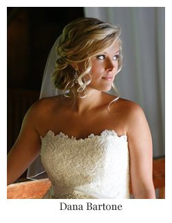 Formal Hairstyles Strapless Dresses Romantic Bridal Hair Low Updo Curls with Veil Hairstyle by Dana