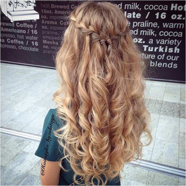 Hairstyles Down Curly Braid 31 Half Up Half Down Prom Hairstyles Stayglam Hairstyles