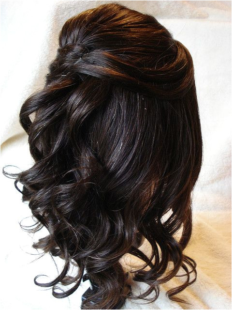 Half Up Hairstyles Back View Half Up Loose Tendril with Simple Design Back View