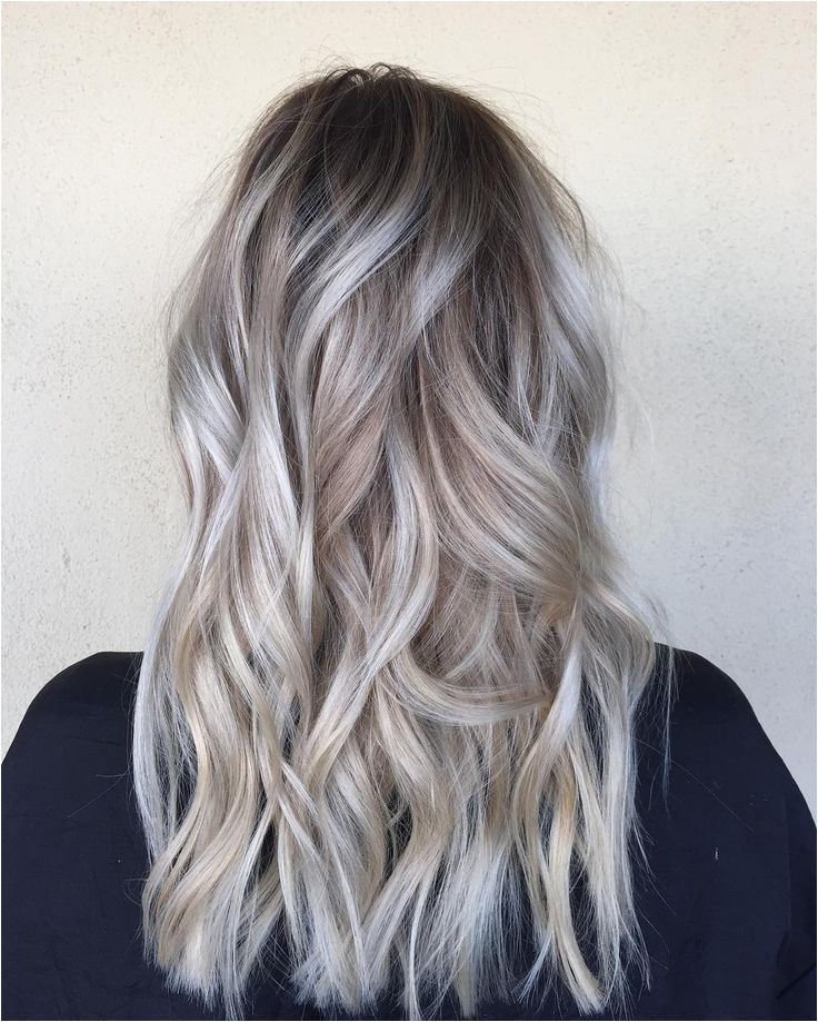 Long Hairstyles W Highlights Od Dark Hair with Silver Platinum Highlights