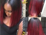 Black Hairstyles Red Bob Blunt Cut Bob with Red Ombré Hair