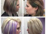Bob Hairstyles Purple before and after Hidden Purple Highlights Under Platinum Blonde