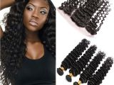 Deep Wave Hairstyles for Black Women Unprocessed Mongolian Virgin Hair Deep Wave with Frontal Closure
