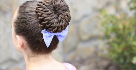Easy Gymnastic Hairstyles Rope Twist Pinwheel Bun Prom Hairstyles