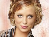 Formal Short Hairstyles for Weddings Short Curly formal Hairstyle with Side Swept Bangs Dark