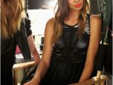 Hairstyles Black Dress Black Dress orange Lipstick Fashion