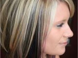 Hairstyles Blonde top Brown Underneath Highlights with Color Blocked Black and Purple Underneath Cute but