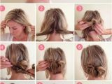 Half Up Messy Bun Hairstyles Pull Out Two Pieces at top Side Create Back Messy Bun Wrap Braid