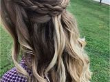 Occasion Hairstyles Down Half Up Half Down Hair with Messy Braid and Loose Curls Perfect for
