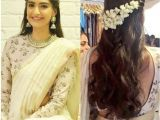 Simple Loose Hairstyles for Saree Side Parted Hairstyle with Gajra