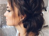Wedding Hairstyles Dark Hair Beautiful Updo with Side Braid Wedding Hairstyle for Romantic