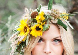 Wedding Hairstyles with Sunflowers Sunflower Inspired Wedding Halo Crown Utah Wedding Flowers Calie